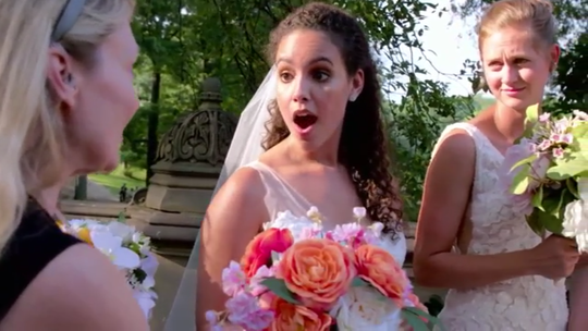"""New Castle's Joanna Talmo reacts to the news that her fiancé Steven fainted during a mass wedding on  TLC's """"Say Yes to the Dress."""""""
