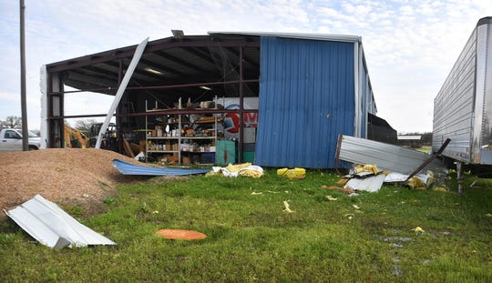 The Gardner's Mechanics and Welding shop in Alvord, Texas had substantial damage from a tornado that went through the area late Wednesday night.