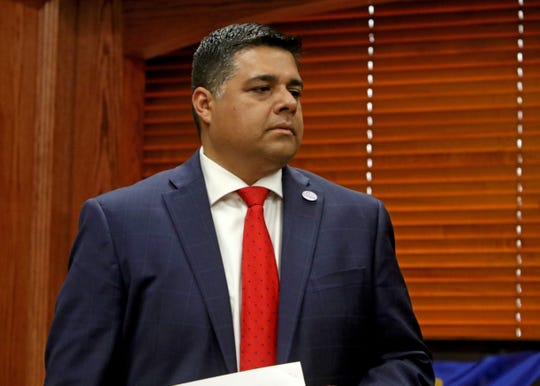 Wichita Falls Mayor Stephan Santellana listens to questions during the Wichita County disaster declaration Thursday, March 19, 2020, in the County Commissioner's Court at the Wichita County Courthouse.