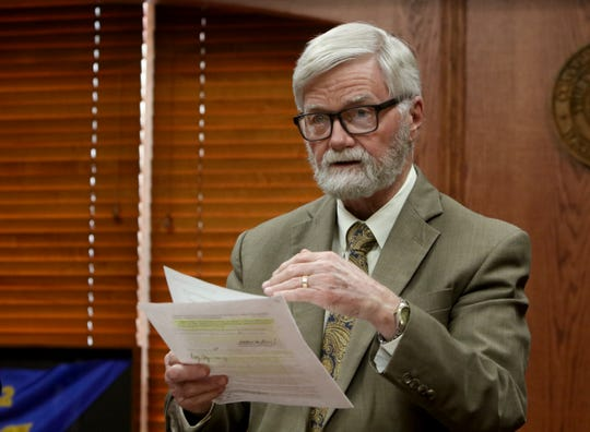 Wichita County Judge Woody Gossom goes over key points of Wichita County's disaster declaration Thursday, March 19, 2020, in the County Commissioner's Court at the Wichita County Courthouse.