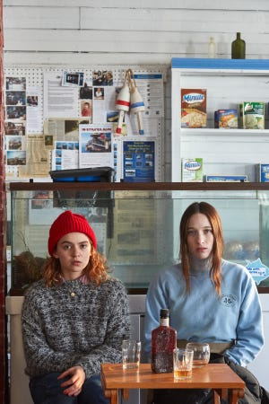 "Morgan Saylor (left) and Sophie Lowe star as sisters in ""Blow the Man Down."""