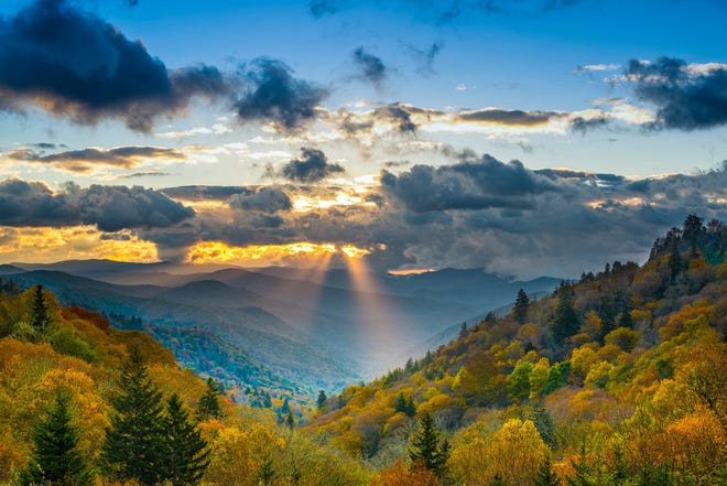A view of Newfound Gap at Great Smoky Mountains National Park.