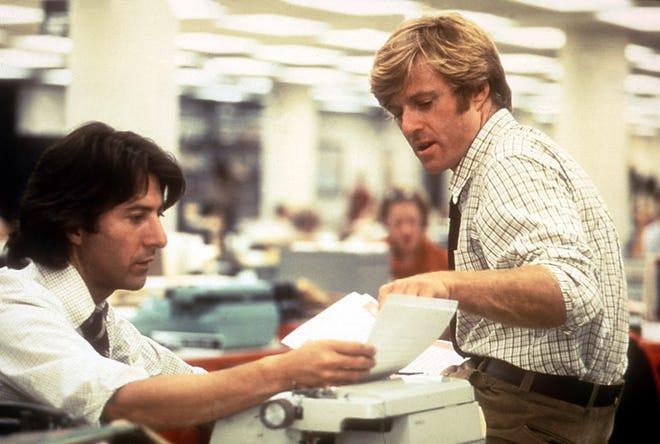 """Dustin Hoffman (left) and Robert Redford play the crusading Washington Post reporters in """"All the President's Men."""""""
