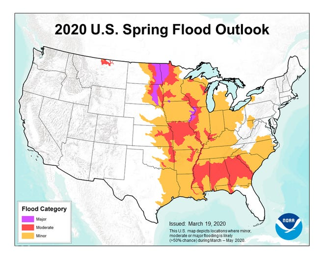NOAA's 2020 spring flood forecast shows that flooding is likely across much of the eastern half of the country.