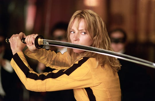 "The Bride (Uma Thurman) walks tall and carries a sharp sword in ""Kill Bill: Volume 1."""