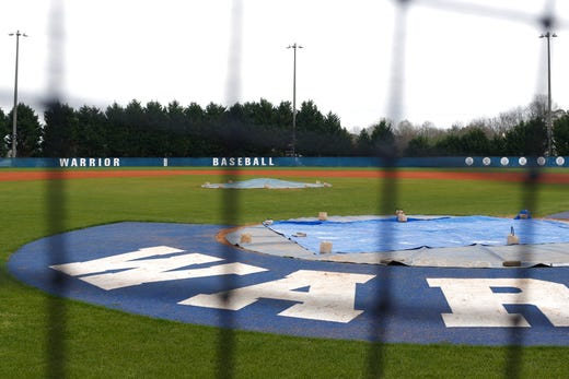 The empty baseball field at Oconee County High School in Watkinsville, Ga., on Wednesday, March 18, 2020. High school athletics in Athens-Clarke County and Oconee County are on hold for the foreseeable future.