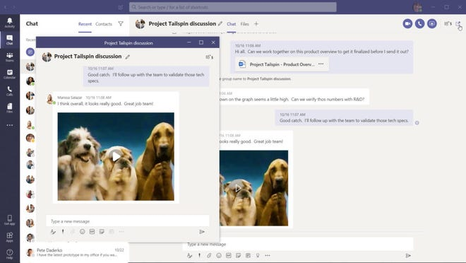 Microsoft Teams added a pop-in chat feature