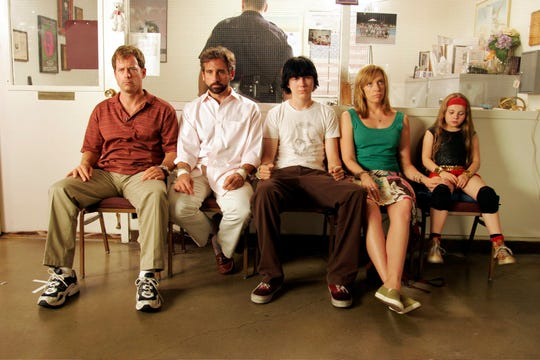 "Greg Kinnear (from left), Steve Carell, Paul Dano, Toni Collette and Abigail Breslin play the dysfunctional family in ""Little Miss Sunshine."""