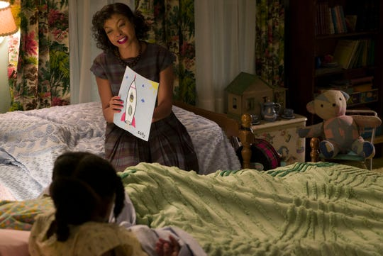 "Math genius Katherine Johnson (Taraji P. Henson) is key to America staying competitive in the Space Race in ""Hidden Figures."""