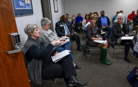Carol Burdette, President & CEO of United Way of Anderson speaks about working together to assist people affected with the events and closings with COVID-19,  during a meeting in their building in Anderson Monday, March 16, 2020.  Due to the recent report from SC DHEC regarding two presumptively positive COVID-19 cases in the county. The Operating Condition level has been increased to OPCON 2. Later in the morning, the first death in South Carolina was reported from Lexington Medical Center Extended Care Skilled Nursing Facility, according to the State Department of Health and Environmental Control.