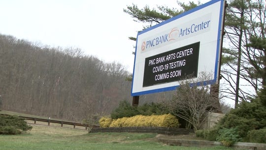 Preparations are underway for a coronavirus testing center at the PNC Arts Center in Holmdel