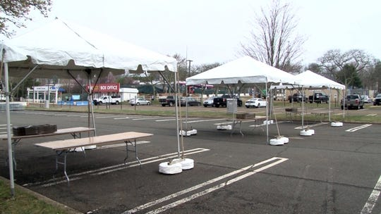 Preperation is underway for coronavirus drive-thru testing at PNC Arts Center in Holmdel