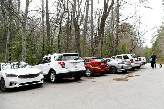 Parking lots at Bent Creek were full as people hiked and biked March 19, 2020.