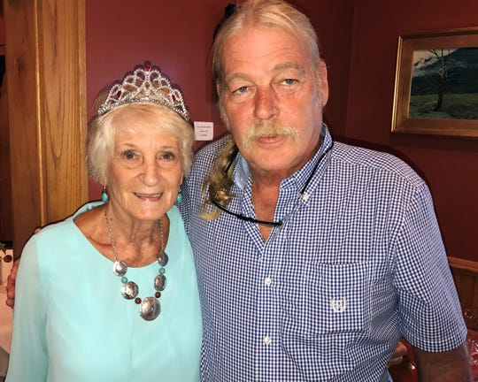 Dot Rice, stands with her son, Terry Rice, at her birthday party in April 17. The Rice family lived near the CTS Superfund site for decades, many of them suffering unexplained illnesses.