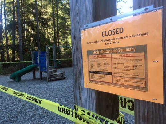 A neighborhood playground in South Kitsap was closed by the homeowners association on Thursday to comply with social distancing.