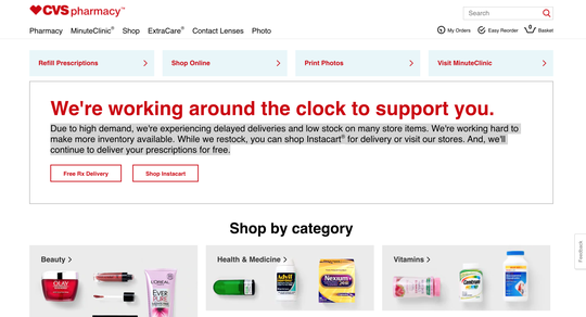A screenshot of CVS's main webpage as of Friday, March 20, 2020 at 2:40 p.m. Customers demands for necessary medications and prescription refills has create a temporary shortage across national and local chains.