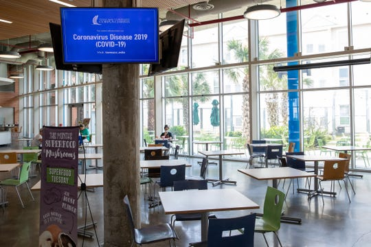 A few students sit in a nearly empty dining hall at Texas A&M University-Corpus Christi on Friday, March 20, 2020, as spring break was extended due to COVID-19.