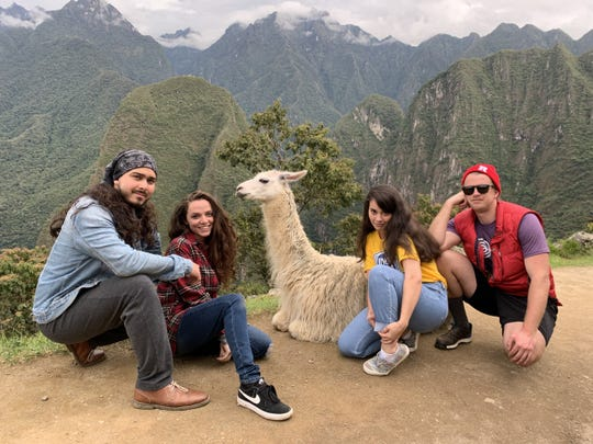 New Jerseyans Kenneth Valinote (left), of Pine Hill, Marie DiLeonardo, of Williamstown, Kelise Vainote, of Pine HIll and Jakub Szczepaniak, of Old Bridge pose while on vacation in Peru earlier in March. The foursome is among a number of Americans unable to get flights home from Peru, which closed its borders in order to stop the spread of COVID-19 coronavirus there.