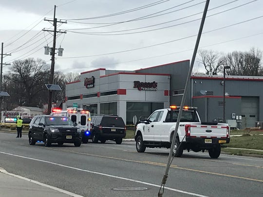 Emergency vehicles park on the Black Horse Pike after a fatal accident near Oak Avenue on Monday.