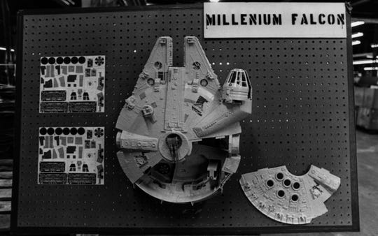 JUNE 1979: The Millennium Falcon, a toy from the Star Wars line by Kenner, is on display at the Kenner warehouse in Cincinnati.