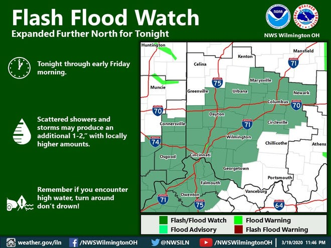 A flash flood watch is in effect through noon Friday.