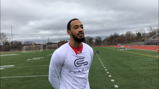 Ferris State quarterback Jayru Campbell answers questions on Friday, March 20, 2020, at Oak Park High School.