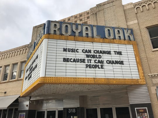 The marquee at the Royal Oak Music Theatre. March 20, 2020.