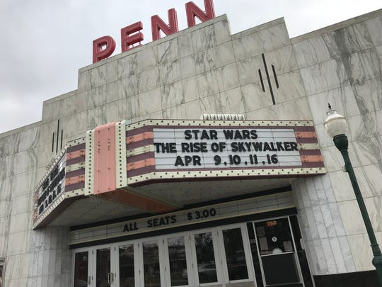 The marquee at the Penn Theatre in Plymouth, Michigan. March 20, 2020.