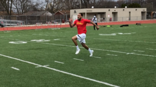 Ferris State quarterback Jayru Campbell runs the 40-yard dash during a workout on Friday, March 20, 2020, at Oak Park High School.