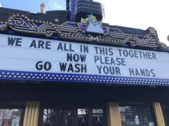 The Magic Bag in Ferndale put this message on its marquee during the coronavirus outbreak on March 20, 2020.
