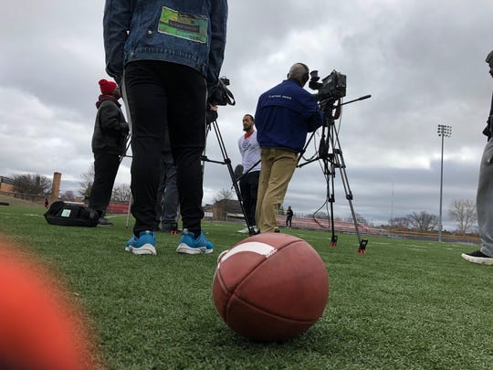 Ferris State quarterback Jayru Campbell answers questions on Friday, March 20, 2020, at Oak Park High School for a videos he hopes reaches NFL scouts.