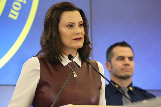 Gov. Gretchen Whitmer provides updates on the state's coronavirus plans at a press conference Friday at the State Emergency Operations Center.