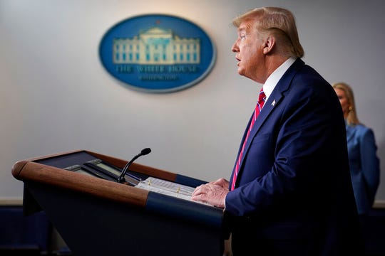 President Donald Trump speaks during a coronavirus task force briefing at the White House, Friday, March 20, 2020, in Washington.