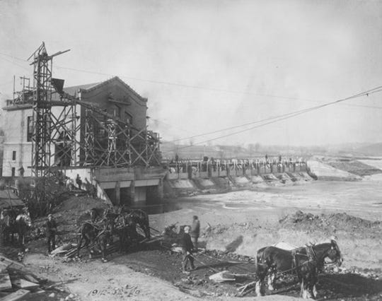 Historic photo of the Barton Dam built in 1913 by Detroit Edison.