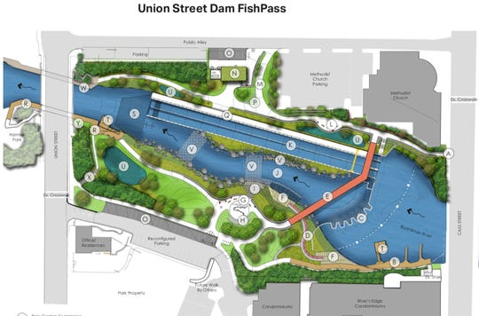 This is a diagram of the Union Street Dam FishPass. FishPass would replace the Union Street Dam with a new barrier featuring an adaptive sorting channel on the near bank to allow for optimization of an integrated suite of technologies and techniques for selective fish passage and invasive species control, and a nature-like river channel on the far bank.
