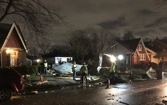 Crews at the scene of a house that exploded on Detroit's west side early Friday, March 20, 2020.
