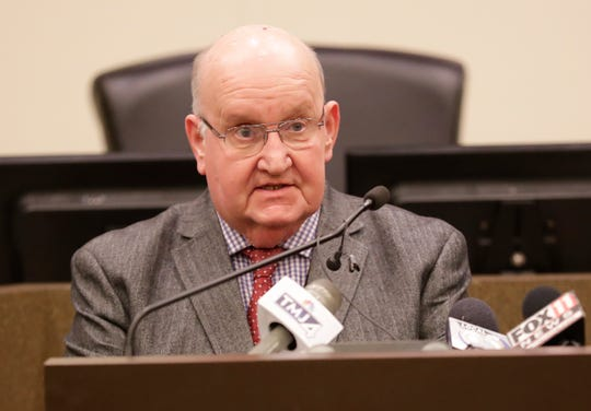 Fond du Lac County Executive Allen Buechel talks at a press conference on updated information on the coronavirus pandemic in Fond du Lac County Friday, March 20, 2020 at the Fond du Lac City/County Government Building.