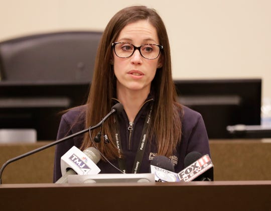Fond du Lac County Public Health Officer Kim Mueller gives a press conference on updated information on the coronavirus pandemic in Fond du Lac County Friday, March 20, 2020 at the Fond du Lac City/County Government Building.