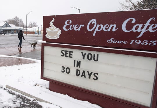 A sign at Ever Open Cafe on North College Avenue Fort Collins tells the stories of most small businesses in Fort Collins during the coronavirus pandemic. Restaurants may be able to partially re-open with new guidelines in mid-May. Municipalities, Fort Collins Area Chamber of Commerce, nonprofits and others are banding together to offer low interest loans for small businesses hurt by the pandemic.