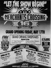 Advertisement announcing 1996 opening of the  AMC theater complex, one of the Merchants Crossing longest standing tenants.