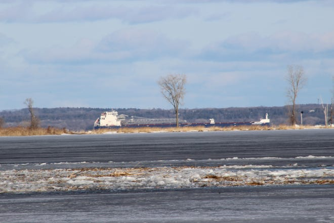 The Canadian freighter Algoma Conveyor ran aground Thursday in Green Bay, about 5 miles north of the Fox River, the U.S. Coast Guard reported Friday, March 20, 2020.