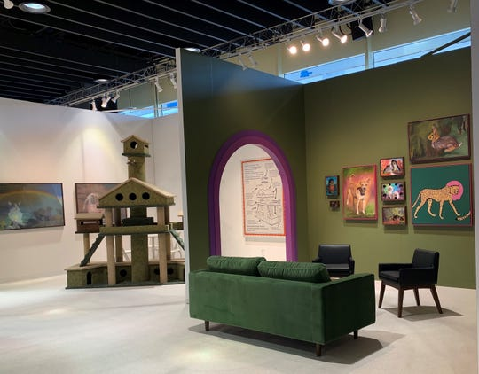 The nine-foot-tall kitty condo created by artist Adrian Wong from telepathic cat communications by Lynn Schuster of Sturgeon Bay was part of Wong's and Schuster's installation at The Armory Show in New York.