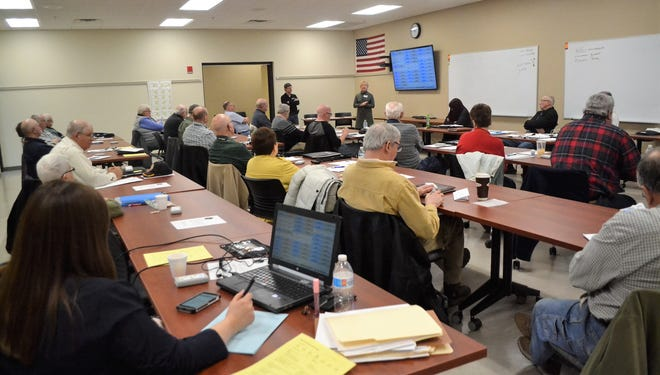 The Oconto County Board of Supervisors met Thursday, March 19 in the Law Enforcement Center Conference Room instead of its board room in the the courthouse so members could sit farther apart.