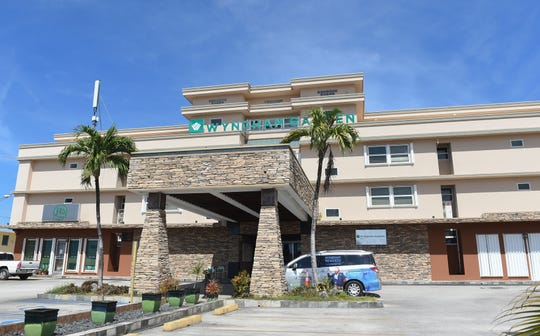 Wyndham Garden Guam, one of two hotels being used for 14-day quarantines by travelers coming from COVID-19 impacted areas, on Ypao Road, March 20, 2020.