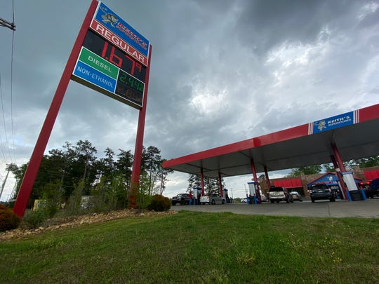 Gas prices plummet statewide as officials urge Mississippians to decrease all non-essential travel, prices pictured here Friday, March 19, 2020.