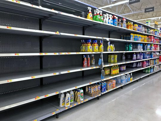Here are some of the items on the shelves at Walmart at 3221 W. 86th St., Thursday, March 19, 2020.