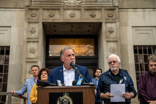 Madison County Mayor Jimmy Harris holds a press conference at Madison County Court House, Friday, March 20, 2020 in Jackson, Tenn. to declare a local state of emergency due to the coronavirus. (Photo: Stephanie Amador / The Jackson Sun)