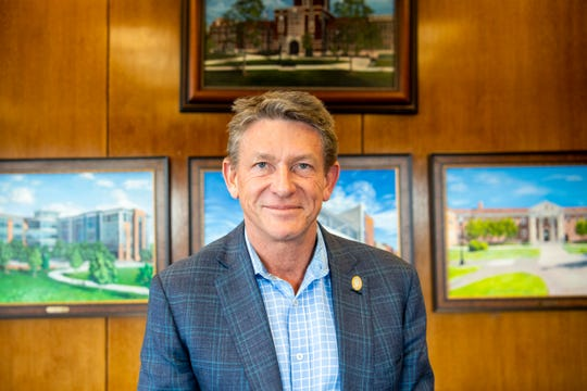Randy Boyd, the interim president of the University of Tennessee, is photographed in his office on campus on Tuesday, March 3, 2020.