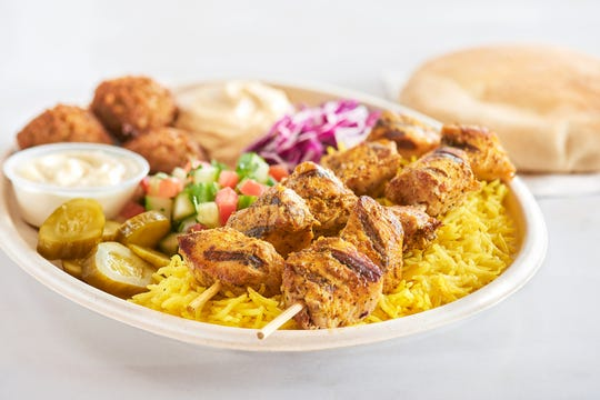 A tasty kabob platter from Naf Naf.