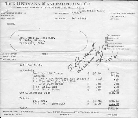 This invoice from the Hermann Manufacturing Co. in Lancaster shows what they charged James Reasoner in February 1931 for materials and labor to construct the automobile gas tank lock he had invented.